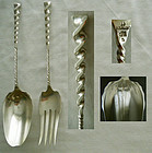 "Whiting ""Twist"" Sterling Silver Salad Serving Fork & Spoon"
