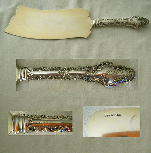 "Durgin ""Watteau"" Solid Sterling Blade Ice Cream Knife"