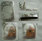 Kerr Art Nouveau Floral Sterling Silver Match Safe