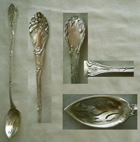 "Blackinton ""Narcissus"" Sterling Silver Long Handle Olive Spoon"