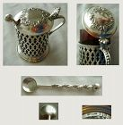 Lattice Sterling Mustard Pot with Ladle and Ruby Red Glass Liner