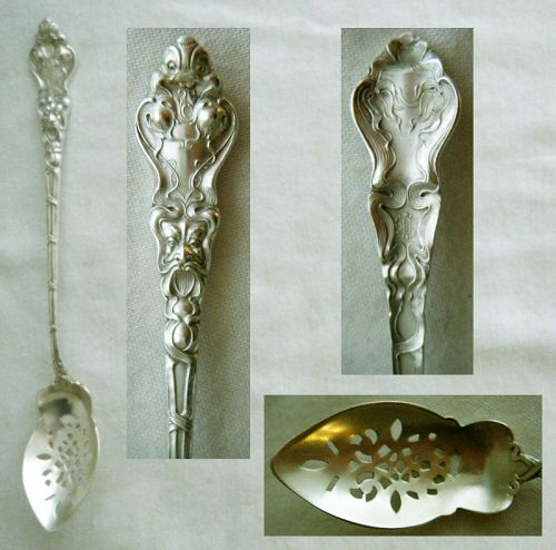"Unger ""Douvaine"" Figural Sterling Silver Olive Spoon, Pierced Bowl"