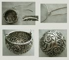 Fancy Sterling Silver Repousse Hanging Basket Tea Strainer