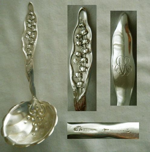 "Whiting ""Lily of the Valley"" Sterling Silver Gravy Ladle"