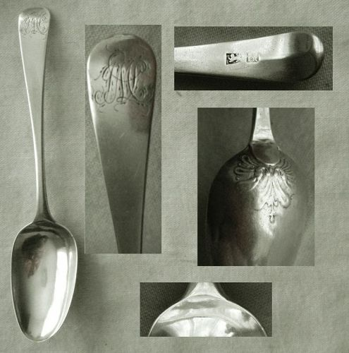 Langlands & Robertson c. 1785 Newcastle Picture Back Sterling Spoon