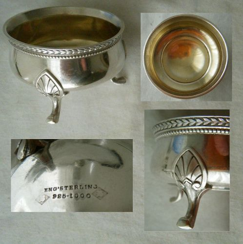 "Large, Open, ""English Sterling"" Footed Master Salt, Mid 19th Century"