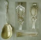 "Durgin ""Du Barry"" Sterling Silver Serving Spoon, Gold Wash Bowl"