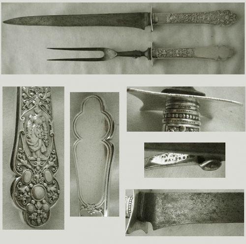 """Gorham Old """"Medici"""" Sterling Silver Large Carving Knife and Fork"""