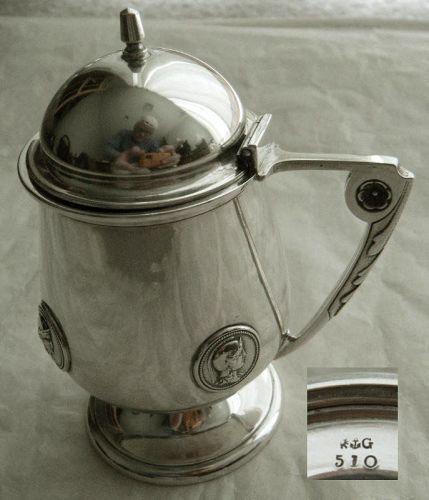 """Gorham """"Medallion"""" 1866 Coin Silver Pedestal Mustard Pot"""