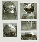 Black, Starr & Frost Repousse Sterling Silver Lid Glass Inkwell