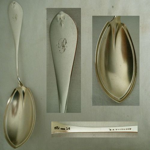 "Whiting ""Antique Tip"" Large Sterling Silver Serving Spoon"