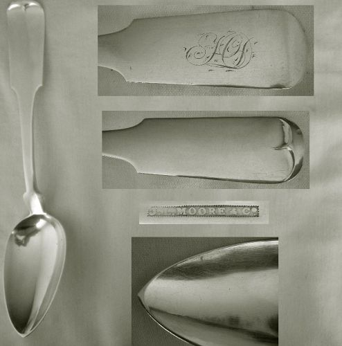 """J.L. Moore & Co., NYC,  """"Tipt"""" Coin Silver Table Serving Spoon, Mint"""