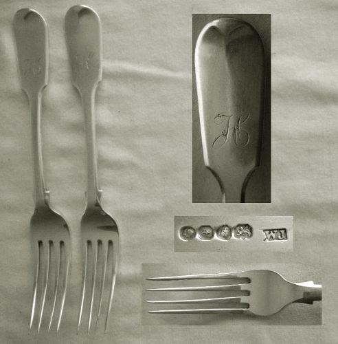 """Pair William Johnson, London, 1834 """"Tipt"""" Sterling Silver Dinner Forks"""