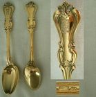 Pair Russian 84 Zolotnik Coffee Spoons with Crowned Crest