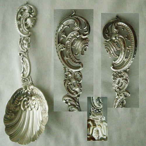 Durgin Baroque aka Pierced Design Large Sterling Silver Serving Spoon
