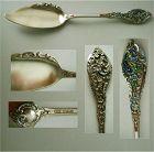 "Dominick & Haff ""Trianon Pierced"" Vermeil Jelly Knife with Enamel"