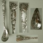 "Alvin Art Nouveau ""Bridal Rose"" Sterling Silver Olive Spoon, Original"