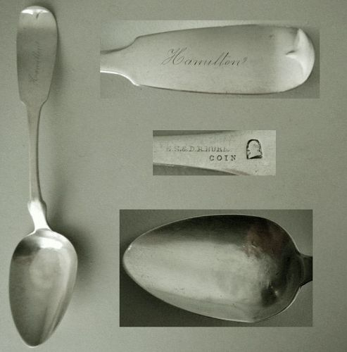 E.S. & D.R. Burr, Berlin, Wisconsin, Coin Silver Chicago Place Spoon