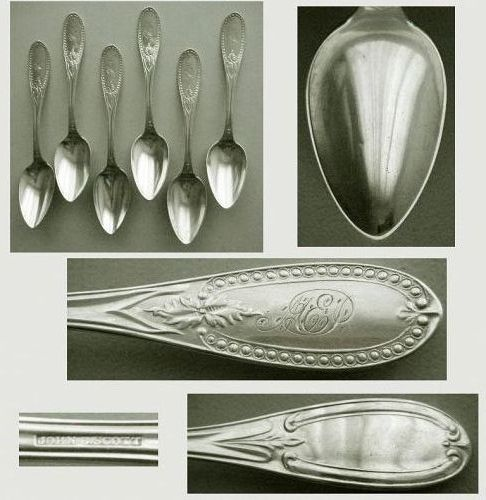 "Six John B. Scott ""Beaded Olive"" Coin Silver Matching Teaspoons"