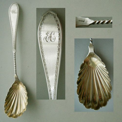 Twist Handle & Engraved Coin Silver Shell Bowl Serving Spoon