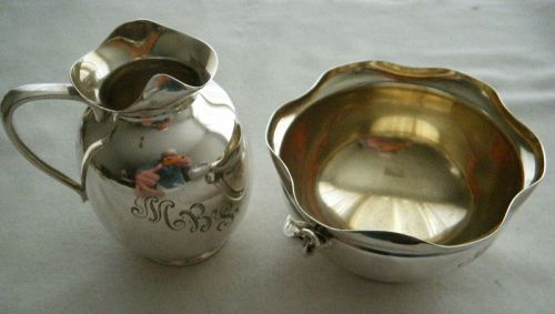 Gorham 1890 Aesthetic Sterling Silver Matched Sugar and Creamer