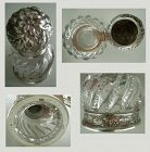 Gorham Repousse Silver Mounted Cut Glass Inkwell 1890