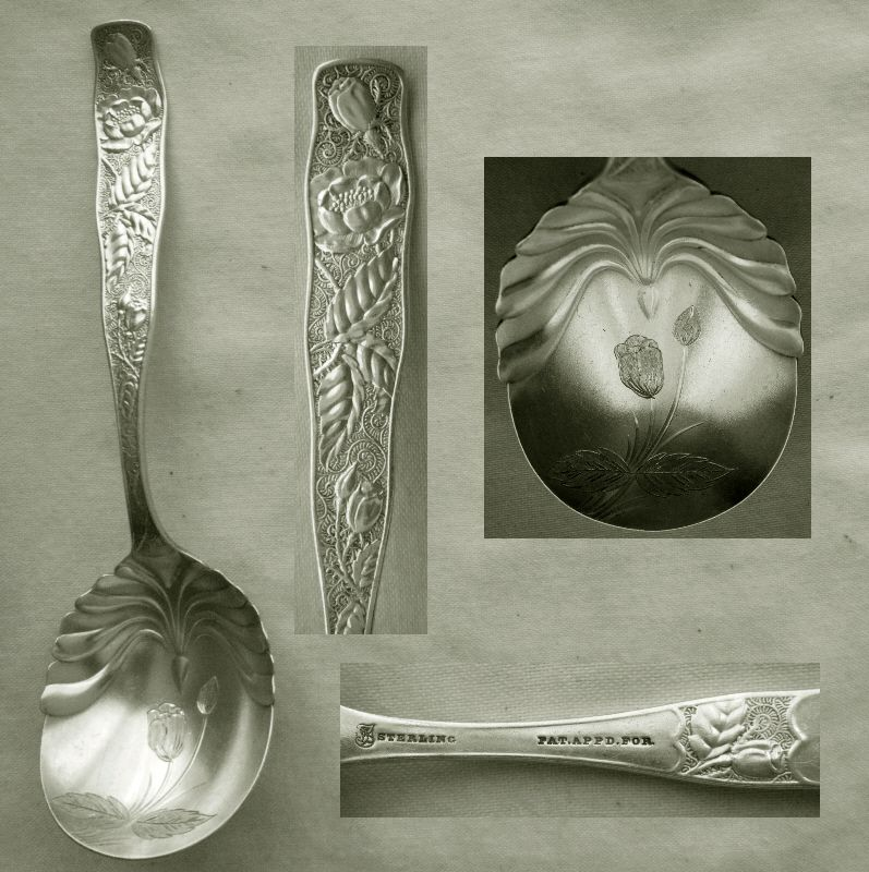 "Towle ""Orchids"" Sterling Silver Preserve Spoon with Engraved Bowl"