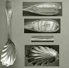 "Ball Black & Co. ""Tuscan"" Large Sterling Silver Shell Bowl Berry Spoon"