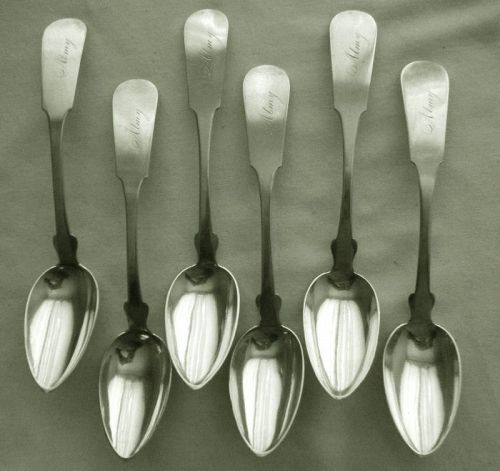"Gorham & Webster ""Reverse Tipt"" Six Coin Silver Teaspoons, Immaculate"
