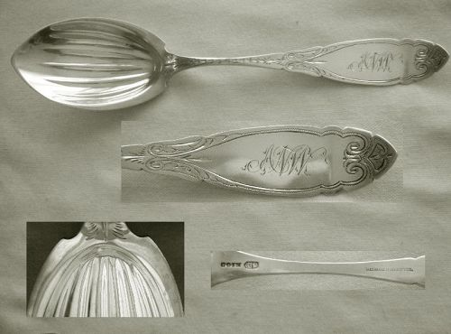 James Watts, Retailed by Bechtel, Coin Silver Mid 19th C Serving Spoon