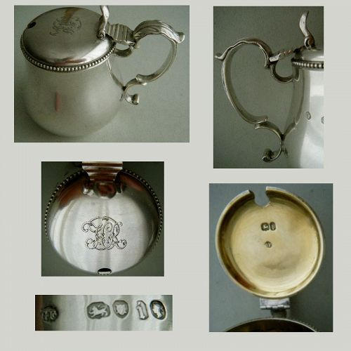 George Fox, London 1864, Sterling Silver Mustard Pot