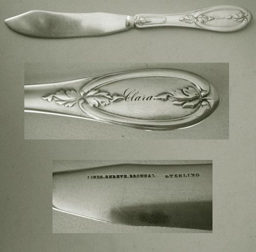 "Jones, Shreve & Brown ""Olive"" Rare Sterling Silver Fish Knife"