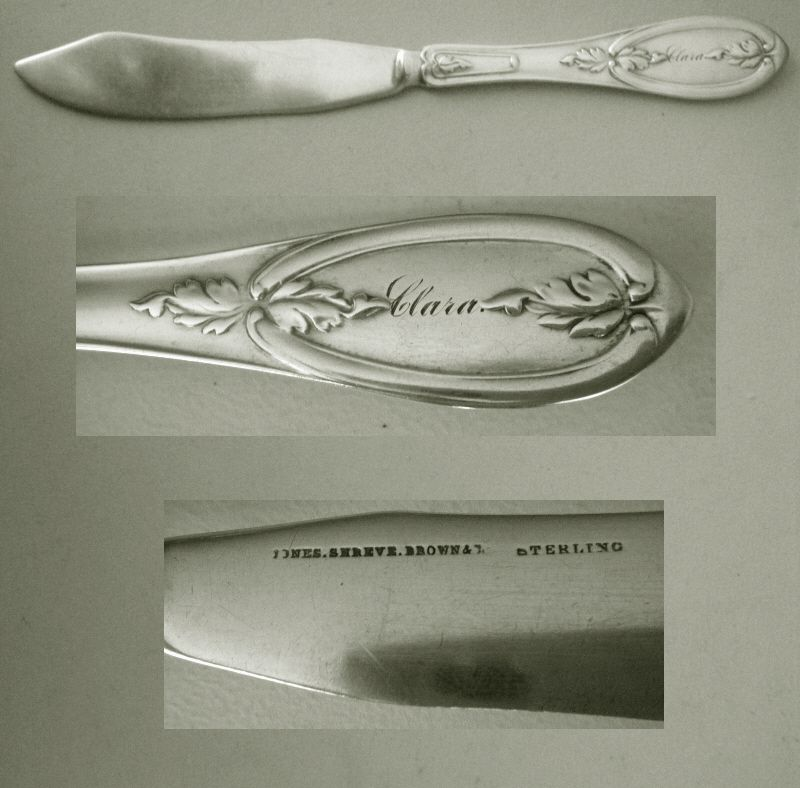"Jones, Shreve & Brown ""Olive"" Rare Sterling Silver Fish Knife"