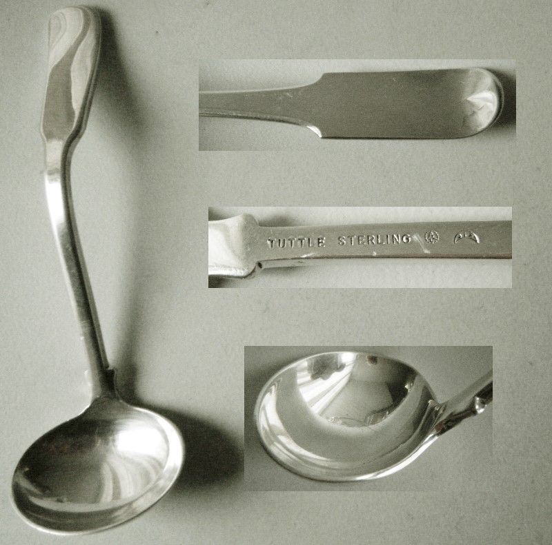 """Tuttle """"Colonial Fiddle"""" JFK Sterling Silver Sauce or Cream Ladle"""