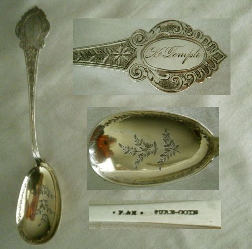 Farrington & Hunnewell Mid 19th C. Engraved Coin Silver Preserve Spoon