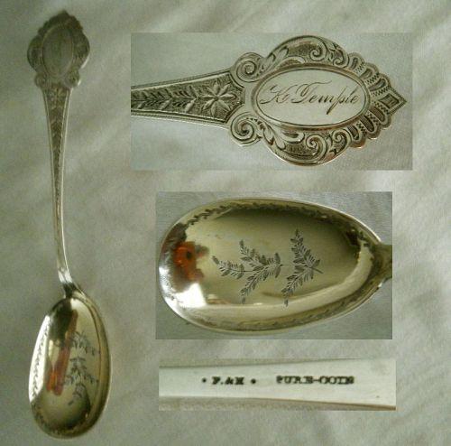 Farrington & Hunnewell Mid 19th C. Engraved Coin Silver Preserve Spoon