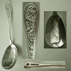 Durgin Etched Aesthetic Design c. 1880 Sterling Silver Serving Spoon