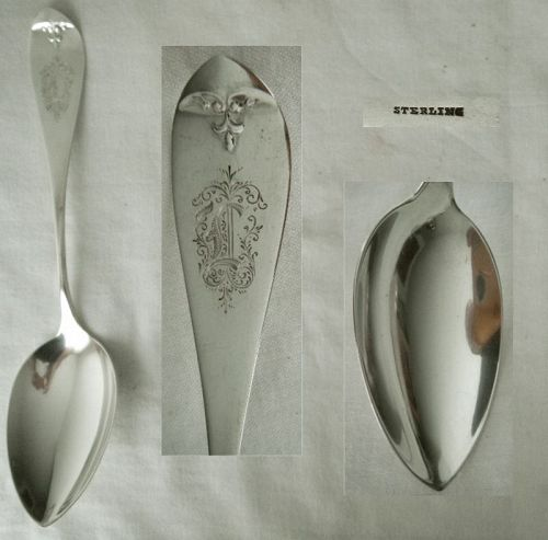 "Whiting ""Antique Tip"" Fleur-de-Lis Sterling Silver Serving Spoon"