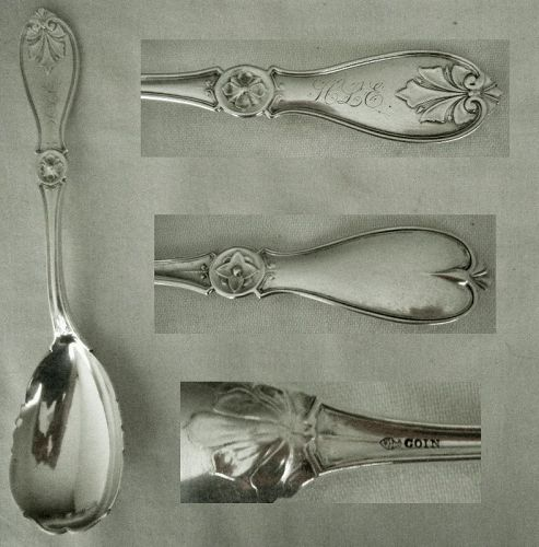 "James Butler, Philadelphia, ""Leaf"" Coin Silver Preserve Spoon"