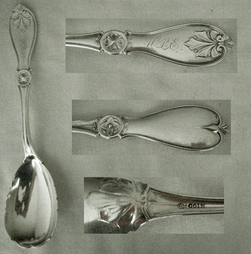 "James Butler, Philadelphia, ""Leaf"" Coin Silver Preserve Spoon"