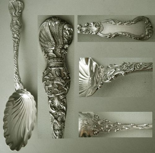 "Durgin ""Heraldic"" Large Fluted Bowl Sterling Silver Serving Spoon"