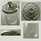 "Kirk ""Repousse"" No. 17F Sterling Top Etched Glass Jam Jar"