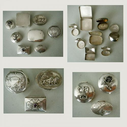Eight Small Silver Boxes, American, Italian, and Taxco, Mexico