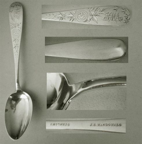 J.S. MacDonald, Baltimore, Engraved Sterling Silver Tablespoon x 5