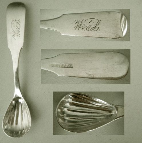 """Norfolk"" Virginia Coin Silver Early 1800s Master Salt Spoon"