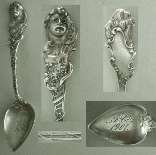 "Watson Cast ""Cherub"" Heart Shaped Bowl Sterling Silver Spoon"