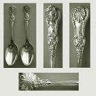 "Tiffany ""English King"" Pair Early Sterling Silver Teaspoons"