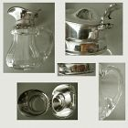 Gorham Sterling Silver Top Cut Glass Base Syrup Jug c. 1900