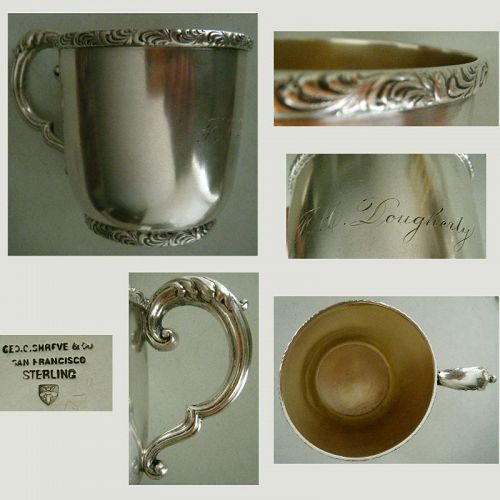 George C. Shreve, San Francisco, Late 19th C. Sterling Silver Mug
