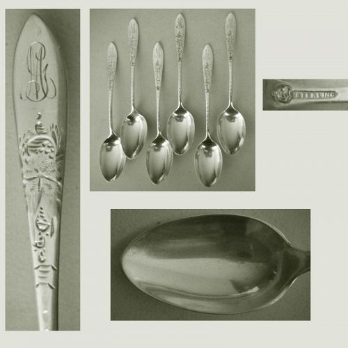 "Six Matching Frank Smith ""Martha Washington Star"" Sterling Teaspoons"